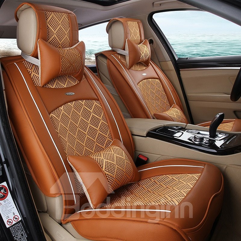 Color Brilliancy Business Plaid Ice Silk And Rayon Universal Car Seat Cover