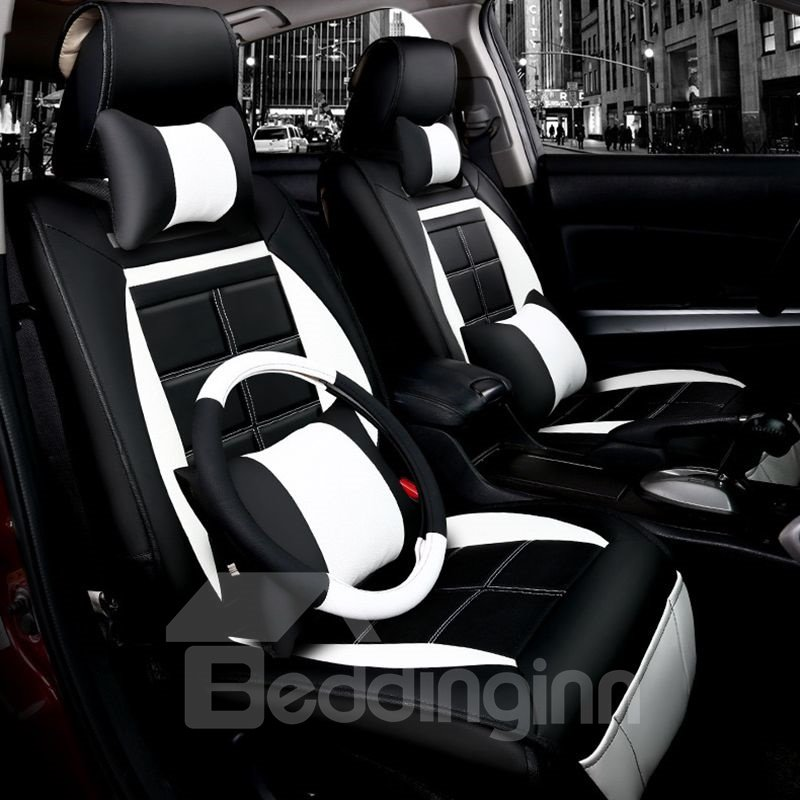 Fashionable Patterns Elegant Shape Plaid Genuine Leather Universal Car Seat Cover