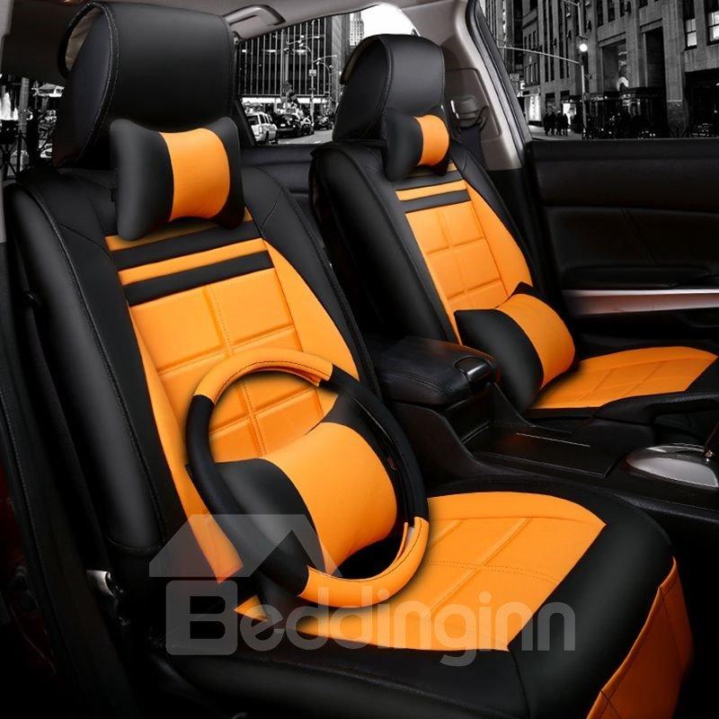 Fashionable Patterns Elegant Shape Plaid Genuine Leather Universal Car Seat Cover