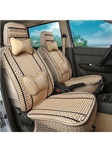 Fashionable Patterns Delicate Striped Ice Silk And Rayon Designed for 7 Seats Car Seat Cover