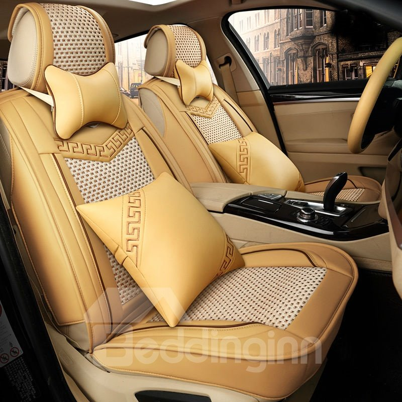Color Brilliancy Extravagant Solid Ice Silk And Rayon Universal Car Seat Cover