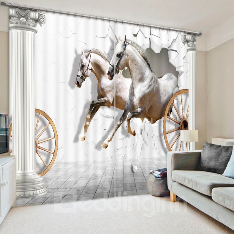 3D White Running Horses Printed Animal Style Decoration and Blackout Polyester Curtain