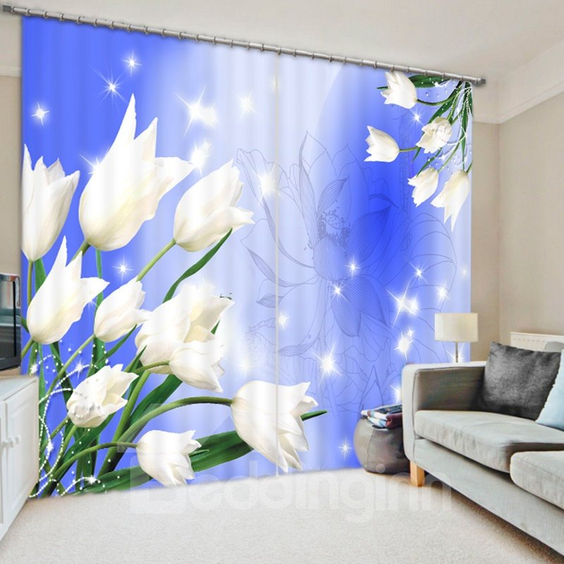 Delicate White Tulip 3D Printed Polyester Curtain