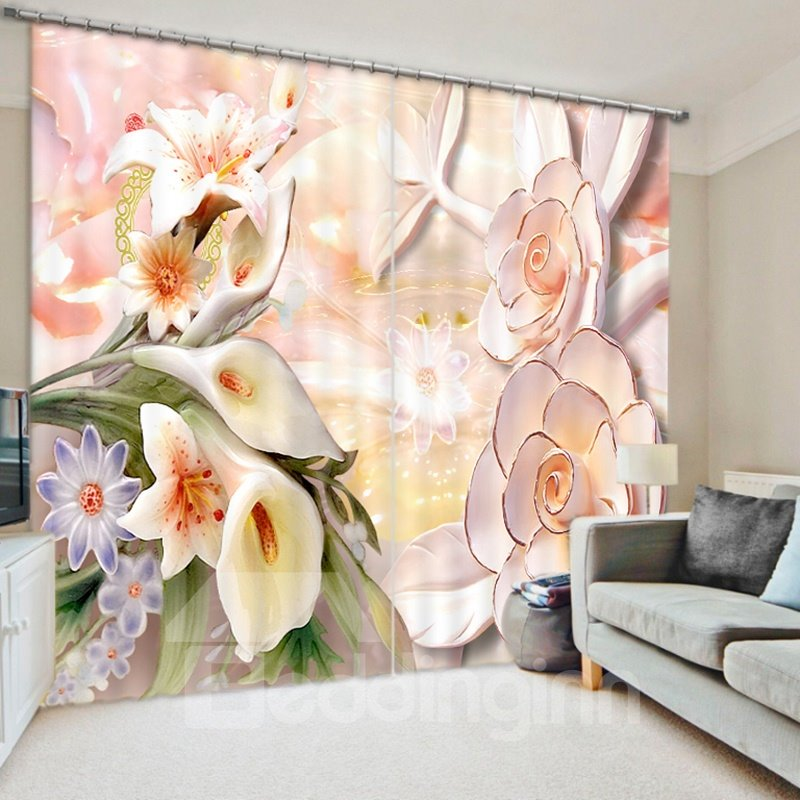 Designer Jade Carving Flowers 3D Printed Polyester Curtain