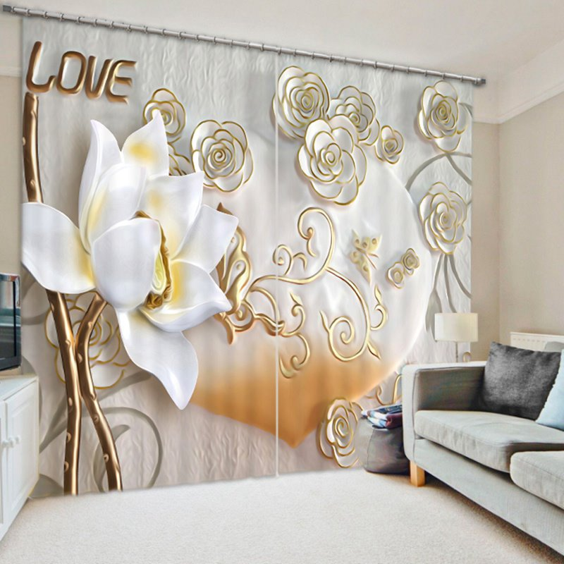 Elegant and Cozy Beige Flowers Craved Polyester Custom Decorative and Blackout 3D Curtain