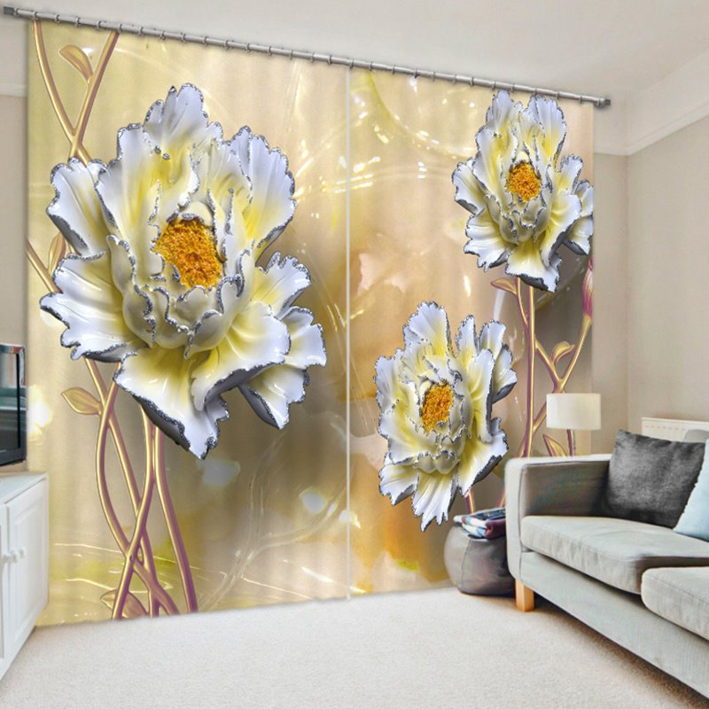 Designer Relief Peony 3D Printed Polyester Curtain