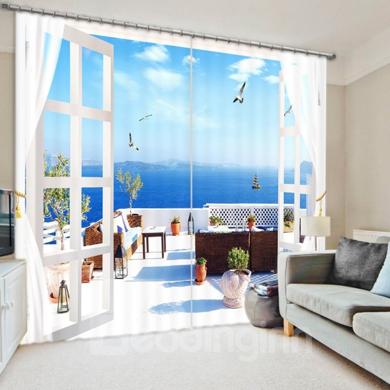 Wonderful Seaside Balcony Scenery 3D Printed Polyester Curtain