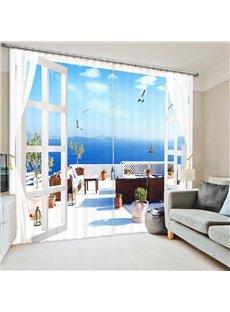 Wonderful Seaside Balcony Scenery 3D Printed Polyester Curtain