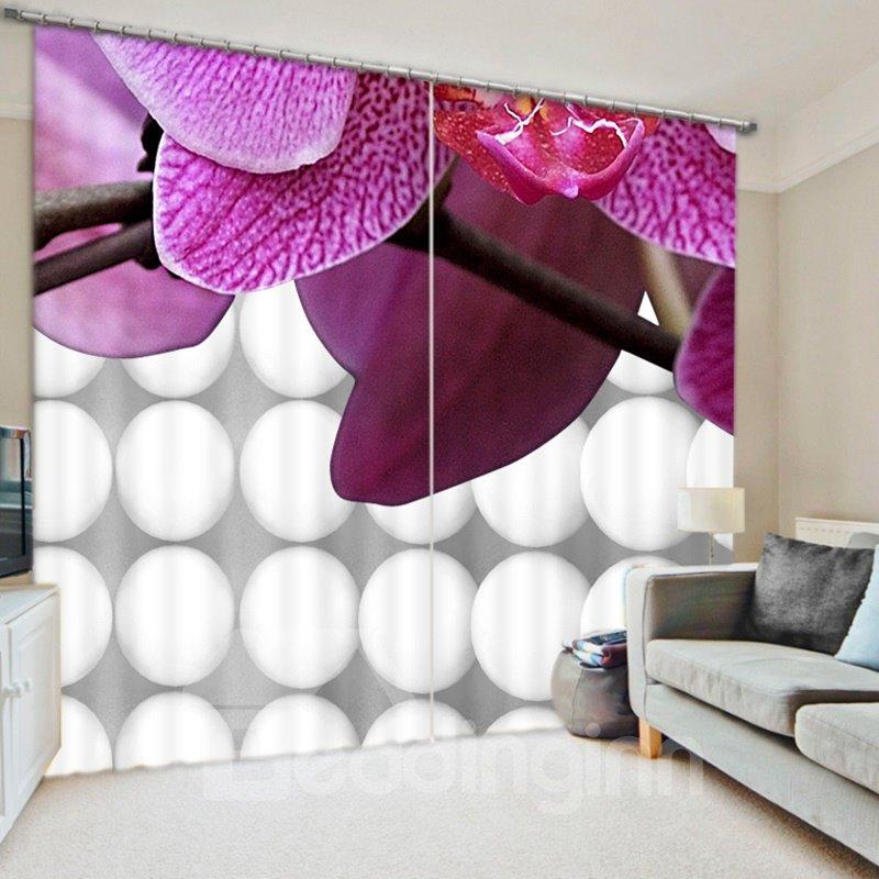Vivid Purple Fringed Iris 3D Printed Polyester Curtain