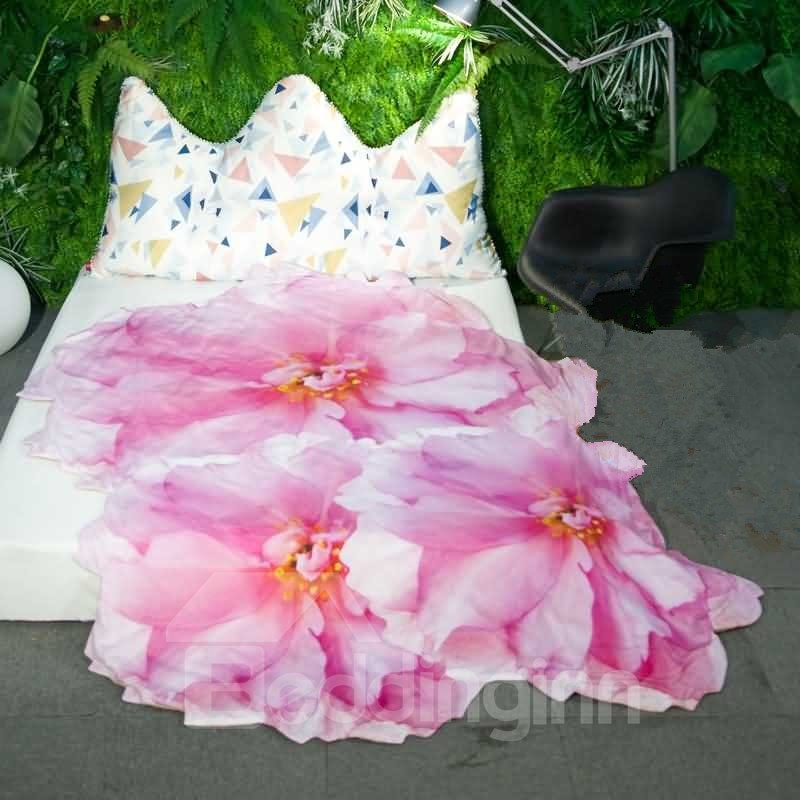 3D Pink Cherry Blossom Design Soft Polyester Quilt