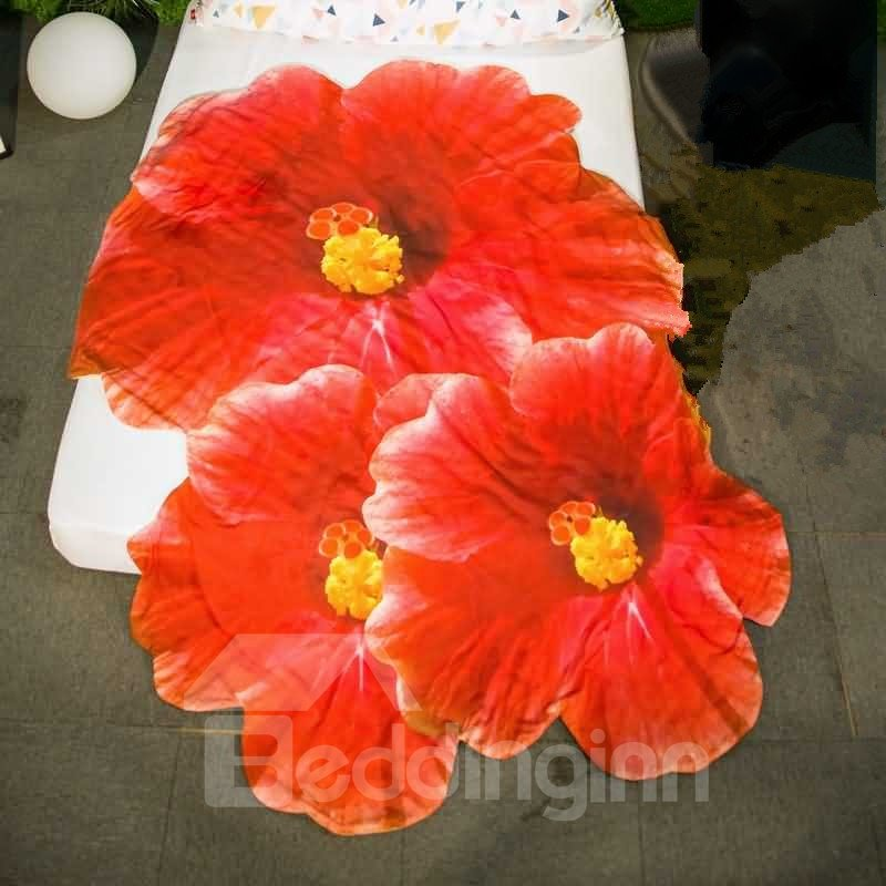 3D Realistic Red Hibiscus Design Skincare Polyester Quilt
