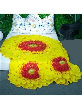 3D Bright Yellow Flower Design Skincare Polyester Quilt