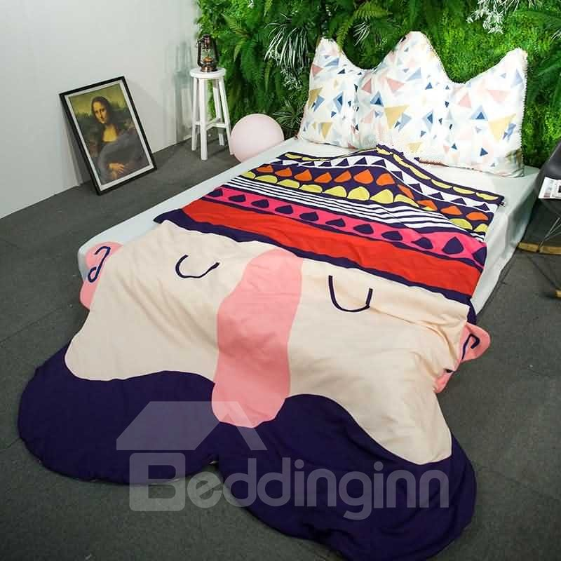 3D Mustache Cartoon Design Skincare Polyester Quilt