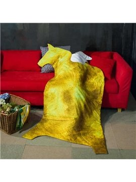 Golden Horse with Wings Design Soft Polyester Quilt