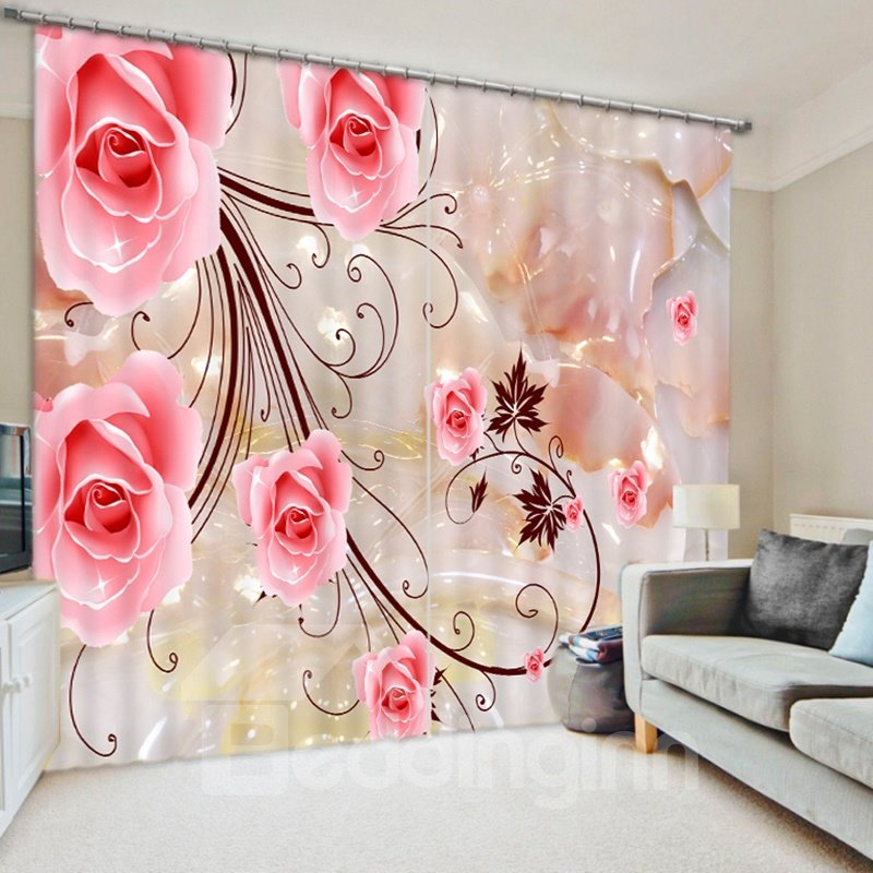 Romantic Pink Roses 3D Printed Polyester Curtain