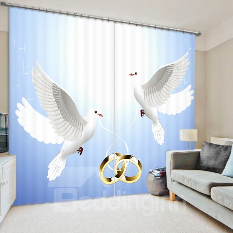 White Pigeons with Ring 3D Printed Polyester Curtain