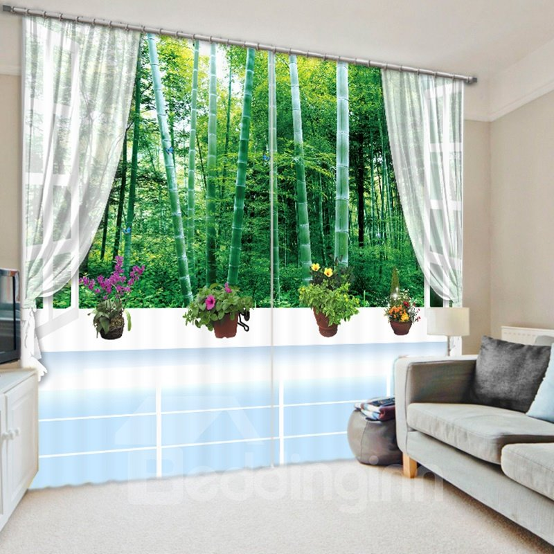 Green Bamboo Forest out of the Window 3D Printed Polyester Curtain