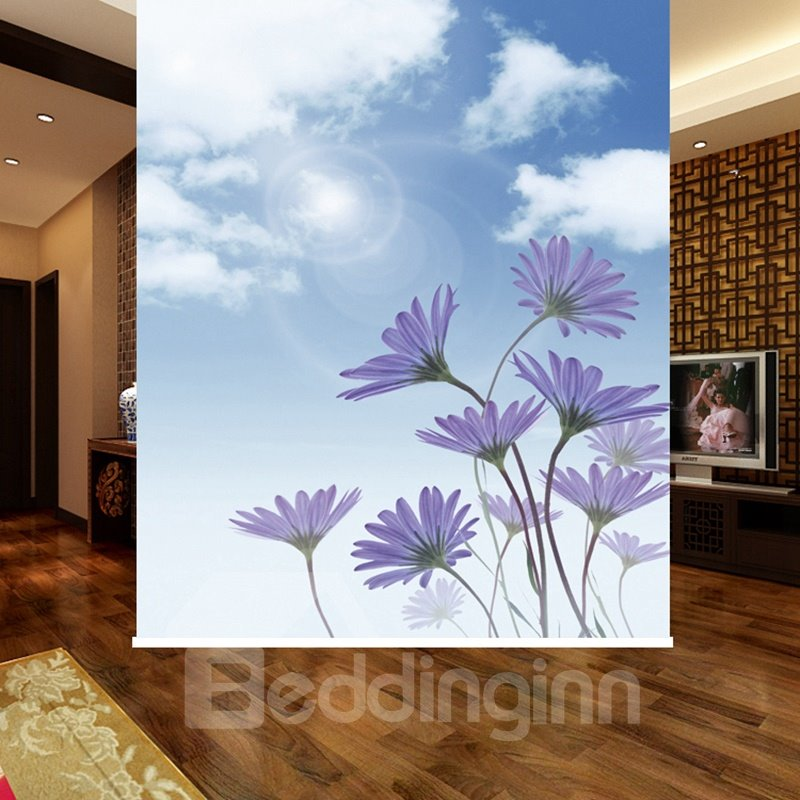 Beautiful Purple Flowers 3D Printed Blackout Roller Shades