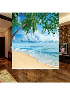 Vivid Coconut Tree in the Beach 3D Printed Blackout Roller Shades