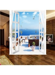 Wonderful Seaside Balcony Scenery 3D Printed Blackout Roller Shades