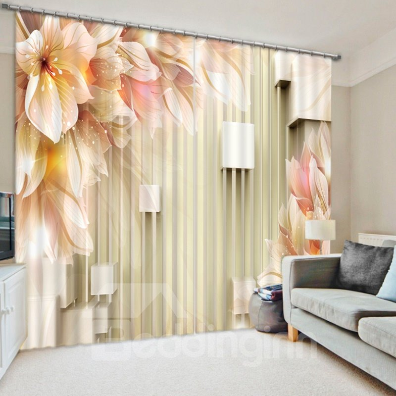 Decoration Dreamy Flowers 3D Printed 2 Panels Custom Polyester Curtain
