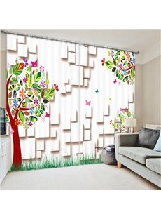 Colorful Cartoon Tree 3D Printed Polyester Curtain