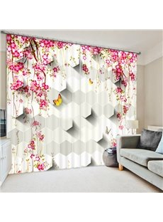 Pink Flower ans Yellow Butterfly 3D Printed Polyester Curtain