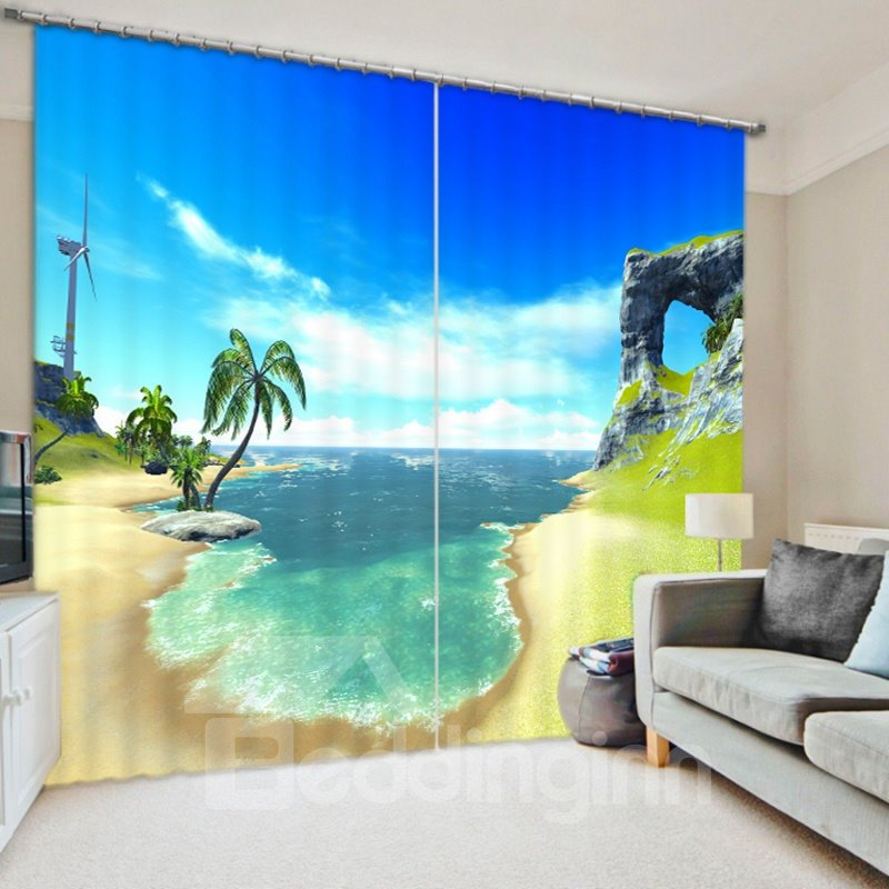 3D Printed Blue Sky and Green Coconut Tree Coastal Polyester Decoration Roller Shade