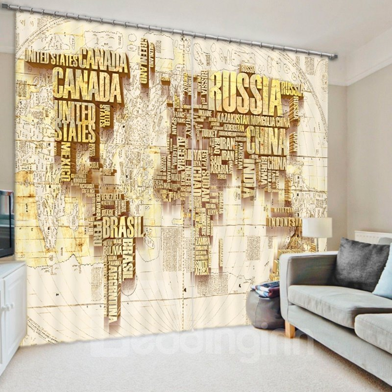 Creative Golden World Map 3D Printed Polyester Curtain