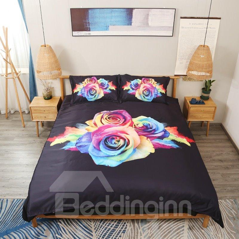 Colorful Roses 3D Digital Printing 5-Piece Tencel Comforter Sets