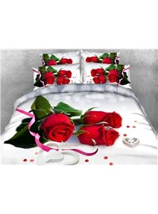 3D Red Roses Digital Printing 4-Piece Bedding Sets