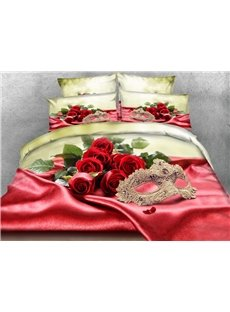Golden Mask and Roses 3D Printed 4-Piece Bedding Sets/Duvet Cover