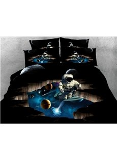 Astronaut and Outer Space 3D Printed 4-Piece Bedding Sets
