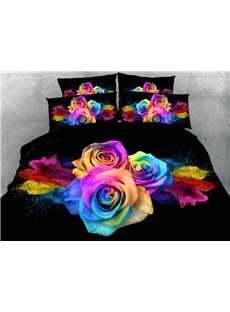 3D Colorful Roses Printed 4-Piece Bedding Sets/Duvet Covers