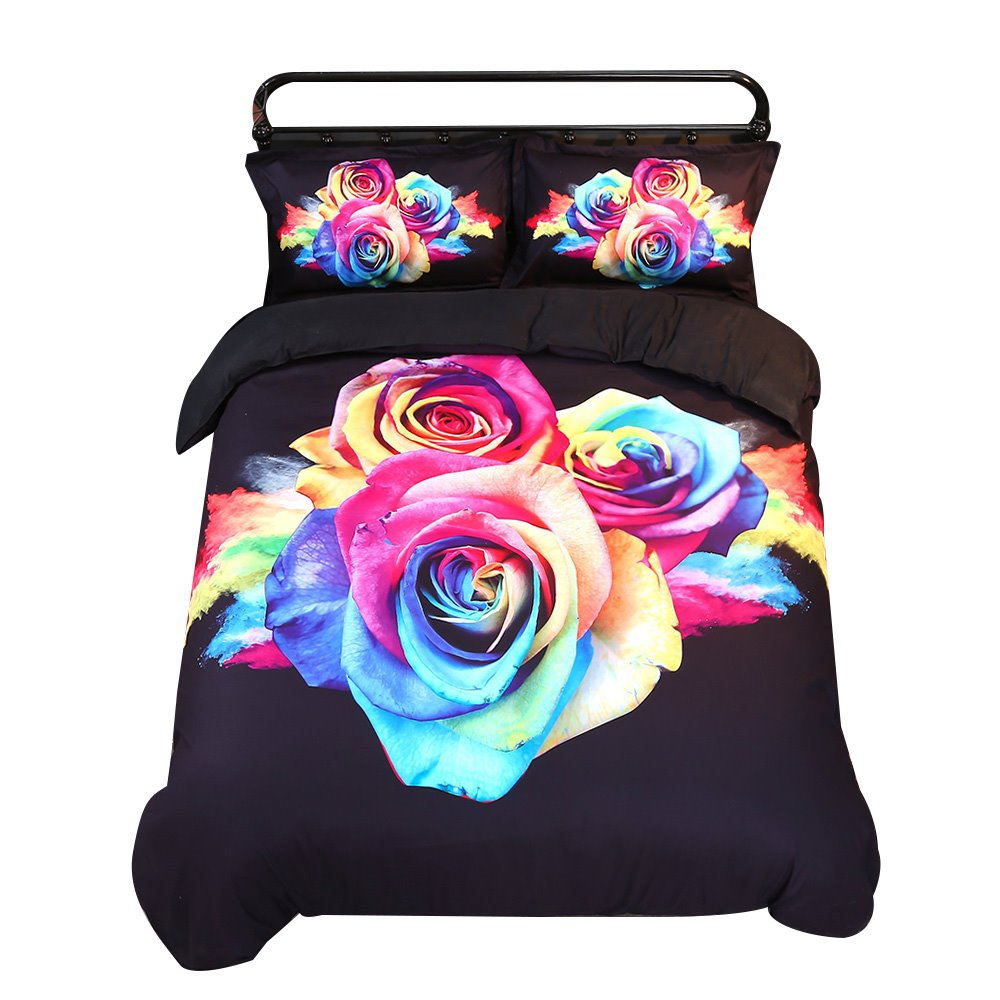 3D Colorful Roses Printed Cotton 4-Piece Bedding Sets/Duvet Covers