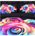 Colorful Roses Printed Cotton 4-Piece 3D Bedding Sets/Duvet Covers