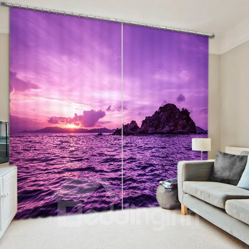 3d Beautiful Sea Sunrise Romantic Purple Nature Scenery Pic