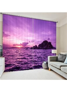 Romantic Purple Nature Scenery 3D Printed Polyester Curtain