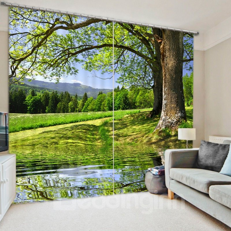 3D Green Fields and Peaceful River Curtains