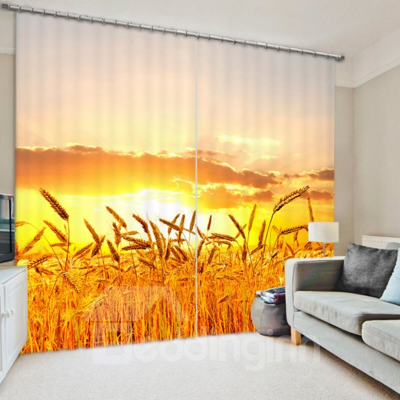 Golden Wheat Field Scenery 3D Printed Polyester Curtain
