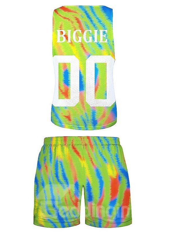 Sporty Style Number Printed Gradient color 3D Sleeveless & Shorts Sets