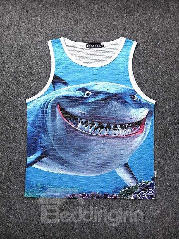 Casual Style 3D Shark Printed Blue Sleeveless & Shorts Sets