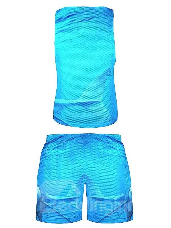 Casual Style 3D Mouth-Opened Shark Printed Blue Sleeveless & Shorts Sets
