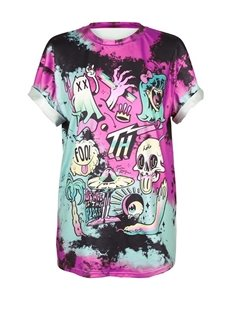 Ghosts Printed Gradient Colored 3D T-Shirts