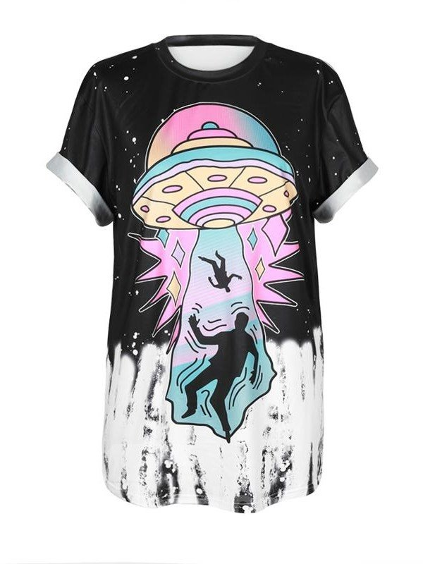 Casual Style UFO Printed Black 3D T-Shirts