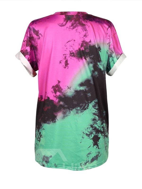 Cartoon Printed Gradient Colored 3D T-Shirts