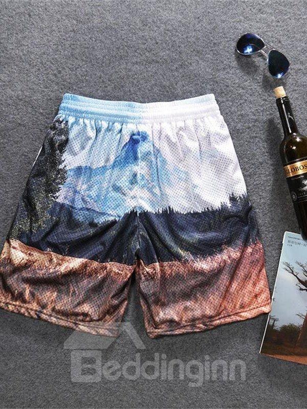 Vintage Scenery Printed Men's 3D Sleeveless & Shorts Sets