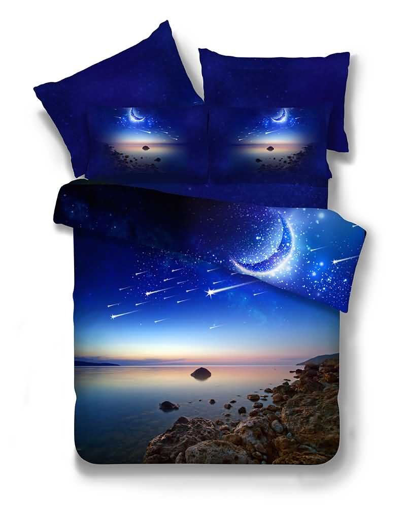 Blue Moon Galaxy 3D Printed Polyester 4-Piece Bedding Sets/Duvet Covers