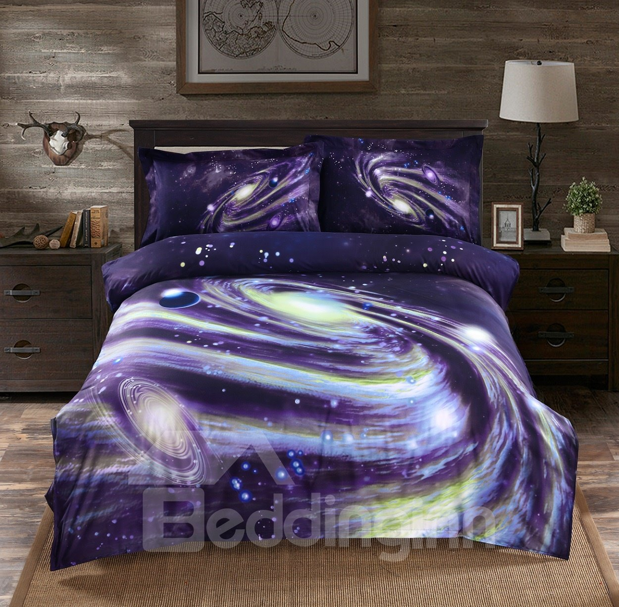 3D Galaxy Nebula Printed Polyester 4-Piece Bedding Sets/Duvet Covers