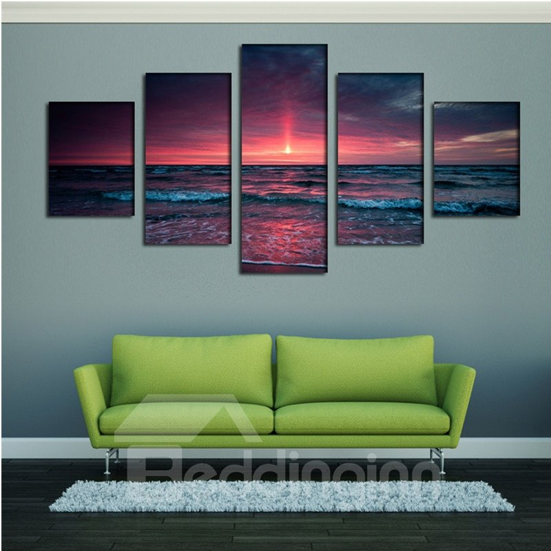 Sunset on The Sea 5-Panel Canvas Hung Non-framed Wall Prints